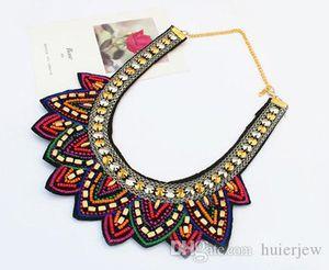 Déclaration Collier Népal Tibet Bohême Colliers Pendentifs Vintage main Tresse colorée Collier Bib Perle