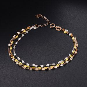 Feines Fest AU750 Echt 18K Multi-tone Gold-Frauen Glück-Klee-Kettenverbindungs-Armband 16 + 3cm
