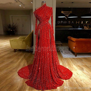 2021 One Shoulder Red Sequined Formal Evening Dresses Long Sleeve Side Splits Ruched Prom Party Gown Vestido de Fiesta