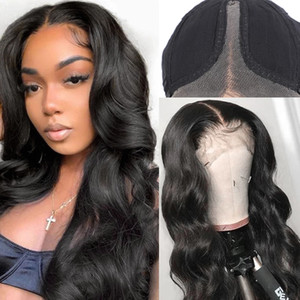 Natural Color 13x1 T Part Human Hair Lace Front Wig Pre Plucked Body Wave Lace Wigs 150% Density Brazilian Remy Hair Wig
