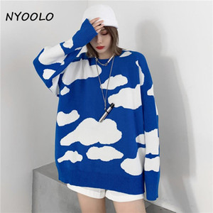 Nyoolo Casual Streetwear Blue Sky Blanc Nuages Jacquard Pulls Jacquard Pull tricoté Femmes Tops Hiver Hiver Manches longues Tricoterie chaude