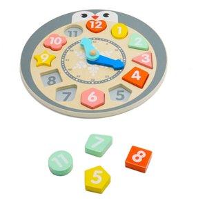خشبي لغز الطفل اللعب على مدار الساعة مع شكل البطريق للأطفال البطريق لغز Clock.Learning والتعليم اللعب