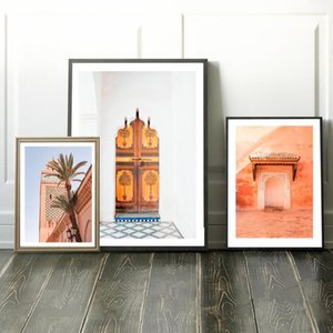 Marrakech Mosque Posters and Prints Nordic Canvas Painting Moroccan Door Wall Pictures for Living Room Boho Art Decoration Frame