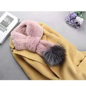 écharpes d'hiver foulard foulard féminin vraie rix fourrure foulards avec grosse fourrure véritable pompon s02
