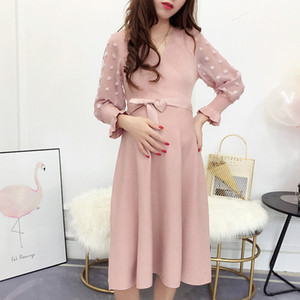 New Fashion Autumn Winter Maternity Clothes Dresses for Pregnant Women Hot Mother Daily Knitted Pregnancy Women Dress 201125