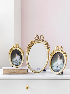 Creative Resin Gold Retro Photo frame Picture frame Bow mirror tray Desktop storage Photo display Modern home decorations