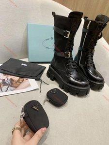 Prada boots Los últimos PRABRANDS estilo original de la moda Martin botas damas de bolsa doble bolsillo botas de plataforma panecillo tobillo mediados de tubo botas de jinete