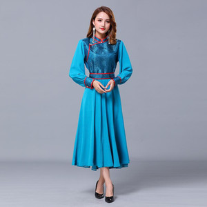 Mongolian Ethnic Costume Folk Dance Clothing Long Elegant Dress Stage Performance Wear Oriental Retro Robe Women