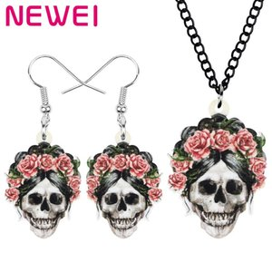 Newei Acrylic Halloween Rose Skeleton Skull Jewelry Sets Evil Earrings Necklace For Women Lover Charm Festival Gift Accessories