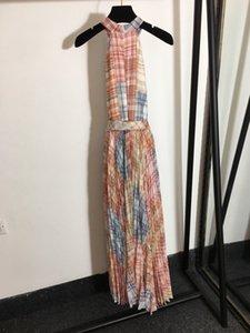 Fashion women dresses High quality women designers clothes 2020 dio Stripes Spring ior MS dress logo