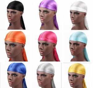 2021 New Fashion Men's Satin Durags Bandana Turban Wigs Men Silky Durag Headwear Headband Pirate Hat Hair Accessories