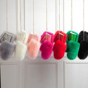 Women's Gloves Warm winter imitation fox fur gloves female hanger plus velvet thick plush unisex artificial fox leather gloves 201020