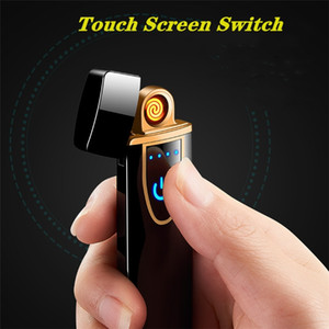 2021 USB Rechargeable Lighters Electronic Lighter Flameless Flameless Touch Screen Switch Colorful Windproof Lighter 9054