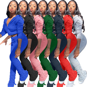 Женщины одежда Мода Плиссированные Щелевые штаны с длинным рукавом с капюшоном Zip Кардиган Костюмы женские повседневные Твердотопливные костюмы Тонкий