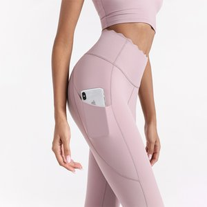 L-18 Solid Color Double-sided Drushed Nude Yoga Pants Pocket Sports Tights Fitness Nine Points Workout Lace High Waist Women Leggings