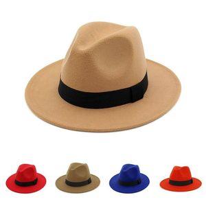 Panama Cap Wool Felt Wide Brim Jazz Fedora Hat with Black Ribbon Autumn Winter Formal Hats caps Gambler Trilby Chapeau for men women