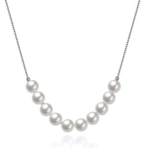 V889 Genuine 925 Sterling Silver Pendant Necklace For Women White Gray Natural Freshwater Baroque Pearl Jewelry