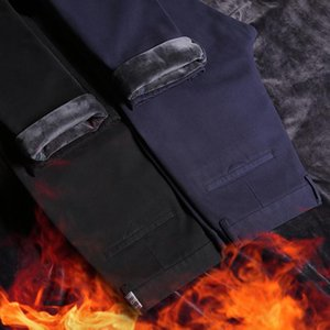 SHAN BAO 98% cotton fleece thick comfortable and warm men's fitted straight casual pants 2020 winter fashion brand pure trousers