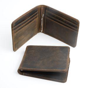 Men Vintage Crazy Horse Genuine Leather Short Wallet Money Ticket Clip Card Holder Hot Sell Retro Small Bag Purse