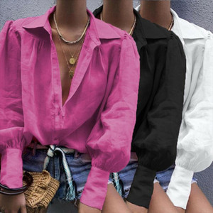 White Long Lantern Sleeve Womens Shirt Blouse Autumn Office Lady Blouses For Women Tops 2020 Loose Solid Button Female Shirts