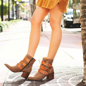 NORBERG Gerçek Deri Sivri Burun Bilek Boots Kare Topuk Kış Kadın Boots Nubuk Bayan Ayakkabı High (5 cm-8 cm) Zip