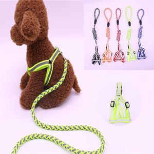 1 stücke dauerhafter hund harness welpe leuchtende leine leine set reflektierende breakaway nylon dogs weste leitungen pet produkt