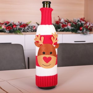 Cubierta de la botella de tejer de Navidad Santa Snowman Elk Champagne Cubierta de la botella de vino Feliz Navidad Punto Botella suéter decoración FWA2058