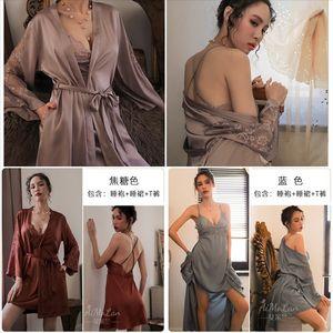Wyl wedding robe peignoir femme costume taille lingerie dormir mariture satin satin et demoiselle d'honneur intime kimono chemins de nuit Sexy Silk Flowe VCTG