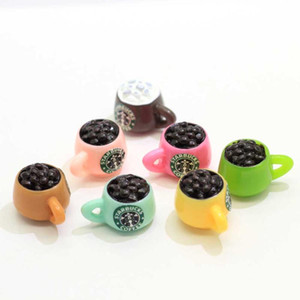 50Pcs Lot Resin 3D Coffee Bean Cup Cabochon Miniatures Fairy Garden Simulation Drink Art Supply Decoration Charm DIY Craft