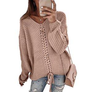Femmes Couture Pull Couleur Solid Color Pullover Blouse à la mode V-Col Vert Commuter Casual Loose S-3XL Spring Automne et hiver
