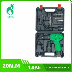 19PCS Libite 12V Perceuse sans fil outils sans fil tournevis électrique sans fil Mini Power Pilote DC Lithium-Ion ENSEMBLES 7iW6 #