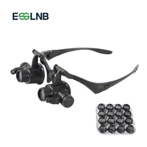 Magnifying Glass Lupa 8 Pair Lens Eye Jewelry Watch Repair Reading Magnifier Glasses With 2LED Lights Loupe Magnifier Binocular T200521