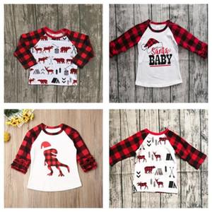 70-110cm 2020 Enfants Christmas Vêtements Enfants T-shirt Tops Baby Girls Plaid Long Manches T-shirt T-shirt X-Mas Red Grid Tshirt Dinosaure Vente E102906
