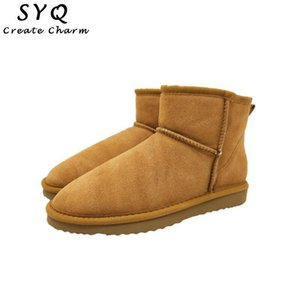 SYQ High Quality Australia Brand Winter Women's Snow Boots Cow Split Leather Warm Ankle Shoes Woman Botas Mujer Big Size US 3-14