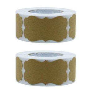 2 Rolls Vintage Blank Kraft Label Sealing Sticker Brown Kraft Paper Party Gift Stickers DIY Handmade Package Tags Baking Decor