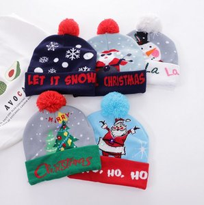 Fashion Winter Christmas Adult Warm Hat Sweater Knitted Glow Christmas Cap Adult Kids Favor Party Decoration for New Year Hat Supplies