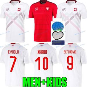 2020 Suiza Jersey de fútbol rojo 2021 suisse blanco ausente Akanji Zakaria Rodríguez del equipo nacional de fútbol de los hombres camisas + niños conjunto kit
