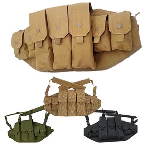 Outdoor Sports Airsoft Gear Molle Pouch Bag Carrier Camouflage Combat Assault Vest Tactical Chest Rig NO06-039