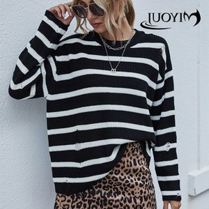 MIYOUJ Black White Stripe Roupa capuz Casual 2020 Outono Inverno Malha Camisas elegantes Moda Mulheres Camisolas