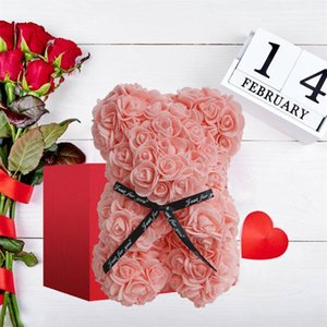Rose Bear Rose Teddy Bear and Necklace Card Gift Box Set for Anniversary Birthdays Bridal Showers Mother's Day C66