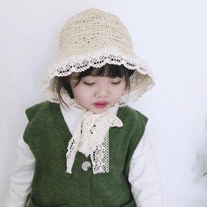 Cokk Verão Chapéus For Girls Baby Girl Ribbon Lace Straw Hat Com Bow Crianças Bucket Hat Handmade Crianças Chapéu de Sol Praia SWY bbyvXc mj_fashion