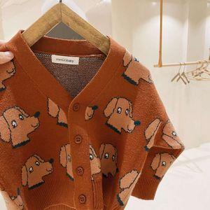 Croal Cherie Wolle Hund Herbst Winter Kinder Jungen Kinder Strick Top Mode Mädchen Oansatz Pullover Kleidung