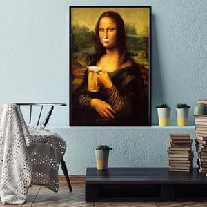 Nordic Estilo Minimalismo Mona Lisa Poster Wall Art Canvas Prints Beer Pintura Modular Pictures Sala Modern Home Decor bpOj #