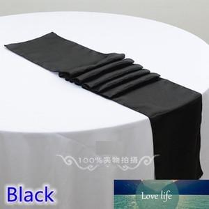 Черный цвет свадебного стола Runner украшения атласа Runner Таблица для Modern Party Главная Отель Банкет украшения Оптовая