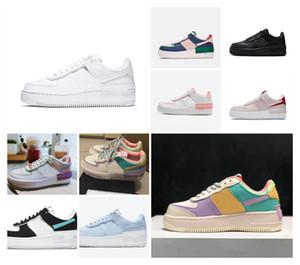 2021 de calidad superior con la caja de los hombres zapatos de cuero zapatos deportivos ejecutar las mujeres zapatilla de deporte zapatillas de deporte de moda Fuerzas pálida sombra de Marfil Negro barato reflectante
