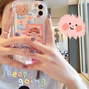 ins iphone11promax Mobile phone shell X transparent 7p 8p Fall prevention Little rabbit Bear