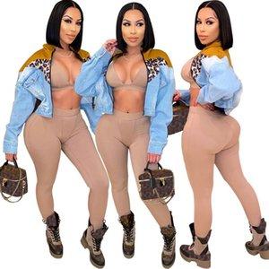 FNOCE 2020 New Jean Giacche Jeans Trends moda Casual Street Leopard Patchwork manica lunga Slim Short Denim Cappotti