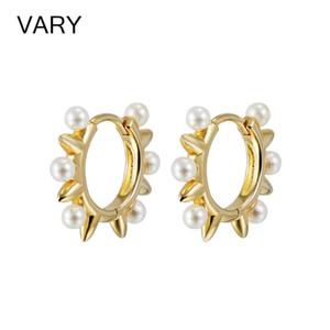 VARY High quality 925 Sterling Silver Pearl hoop earrings for women