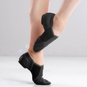 Schwarz-echte Leder-Jazz-Schuhe Soft-Tanzen Turnschuhe Gymnastik Tanzschuh Unisex Slip-on-Jazz-Tanz-Schuhe Tan