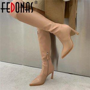 FEDONAS Elegant Side Zipper Tight High Boots Genuine Leather High Heels Shoes Woman 2020 Fall Wedding Basic Knee Boots